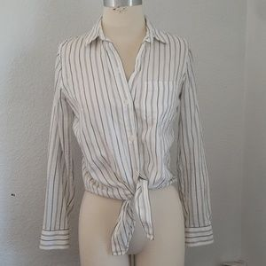 Madewell striped tie front button down